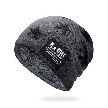 Simple Star Pattern Decorated Thicken Knitted Slouchy Beanie - LIGHT GREY LIGHT GREY