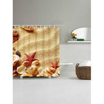 Beach Shell Starfish Print Polyester Waterproof Shower Curtain - SAND YELLOW W59 INCH * L71 INCH