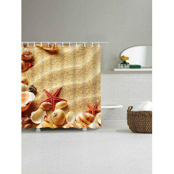 Beach Shell Starfish Print Polyester Waterproof Shower Curtain - SAND YELLOW W71 INCH * L79 INCH