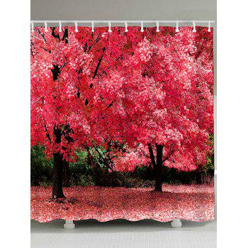 Natural Scenery Pattern Waterproof Polyester Bath Curtain - WATERMELON RED WATERMELON RED