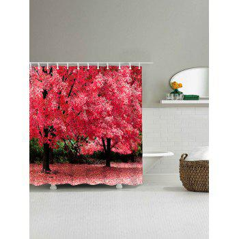 Natural Scenery Pattern Waterproof Polyester Bath Curtain - WATERMELON RED W71 INCH * L79 INCH