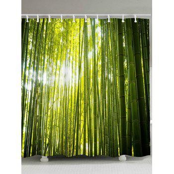 Bamboo Forest Printed Waterproof Fabric Shower Curtain - GREEN GREEN
