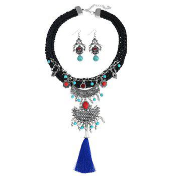 Crochet Faux Turquoise Tassel Necklace and Earrings - BLACK BLACK
