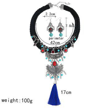 Crochet Faux Turquoise Tassel Necklace and Earrings -  BLACK