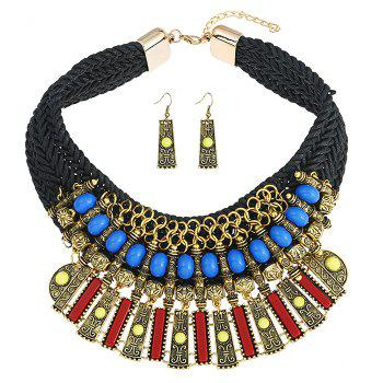 Statement Alloy Crochet Earrings and Necklace - BLACK BLACK