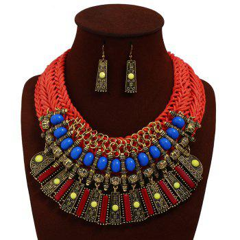 Statement Alloy Crochet Earrings and Necklace - RED RED