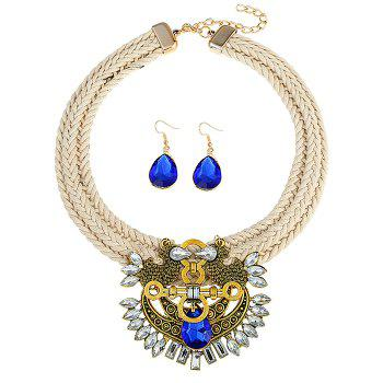 Faux Sapphire Rhinestoned Teardrop Jewelry Set - BLUE BLUE