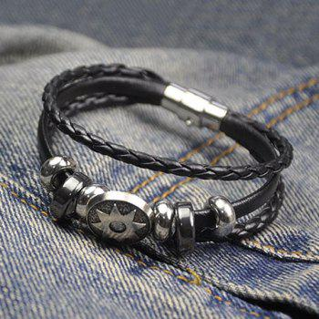 Artificial Leather Rope Braid Engraved Sun Bracelet -  BLACK