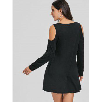 Criss Cross Cold Shoulder Mini Shift Dress - BLACK BLACK