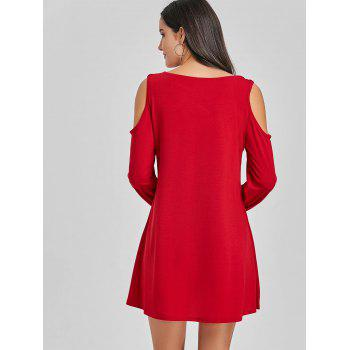 Criss Cross Cold Shoulder Mini Shift Dress - RED L