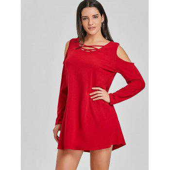 Criss Cross Cold Shoulder Mini Shift Dress - RED RED