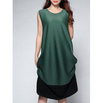 Sleeveless Contrast Color Midi Dress - GREEN ONE SIZE