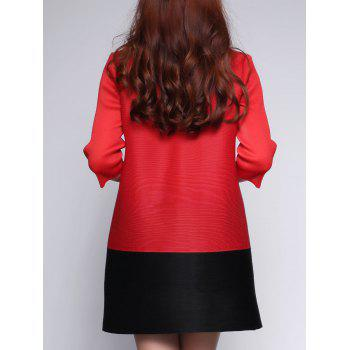 Two Tone Color  Chinese Button Dress - RED ONE SIZE