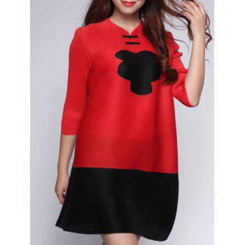 Two Tone Color  Chinese Button Dress - RED RED