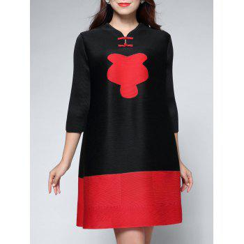 Two Tone Color  Chinese Button Dress - BLACK BLACK