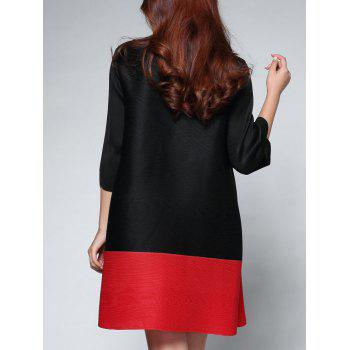 Two Tone Color  Chinese Button Dress - BLACK ONE SIZE