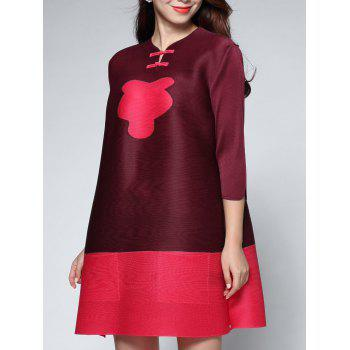 Two Tone Color  Chinese Button Dress - CLARET CLARET
