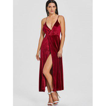 Backless High Slit Velvet Maxi Dress - WINE RED S
