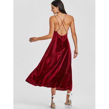 Backless High Slit Velvet Maxi Dress - WINE RED WINE RED