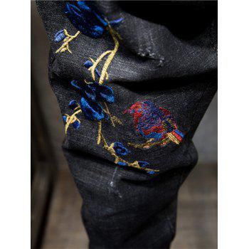 Florals and Bird Embroidered Ripped Jeans - BLACK BLACK