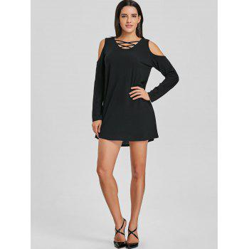Criss Cross Cold Shoulder Mini Shift Dress - BLACK M