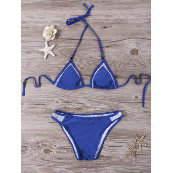 Mesh Panel Halter Bikini Set - BLUE BLUE