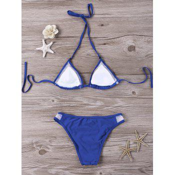 Mesh Panel Halter Bikini Set - BLUE 2XL