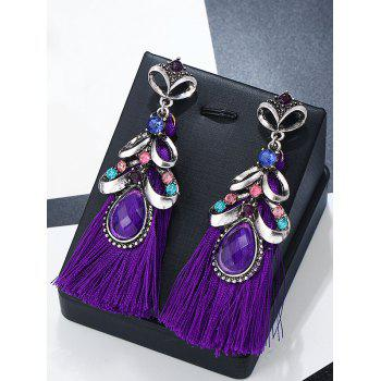 Hollow Metal Rhinestone Inlay Tassel Drop Earrings - PURPLE