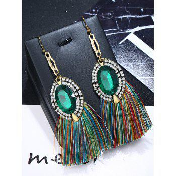 Oval Rhinestone Thread Tassel Drop Earrings - GREEN