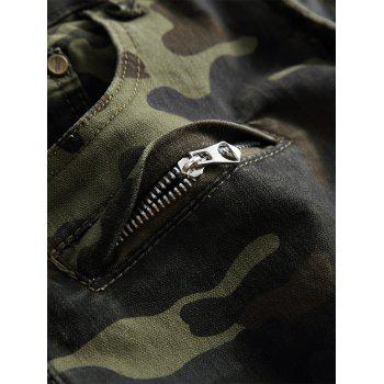 Zip Pockets Camouflage Cargo Pants - ARMY GREEN CAMOUFLAGE 34