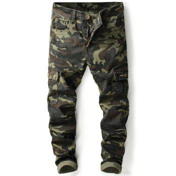Zip Pockets Camouflage Cargo Pants - ARMY GREEN CAMOUFLAGE ARMY GREEN CAMOUFLAGE
