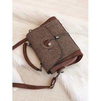 Chain Tassels Zigzag Patterned Handbag -  DEEP BROWN