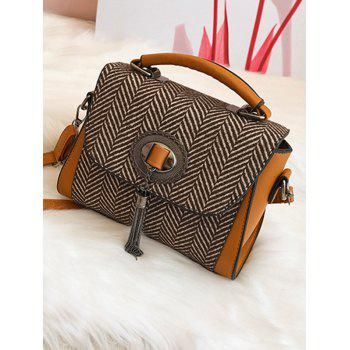Chain Tassels Zigzag Patterned Handbag - YELLOW