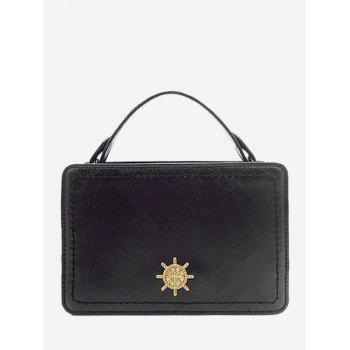 Metal Decorative Mini Crossbody Bag - BLACK BLACK