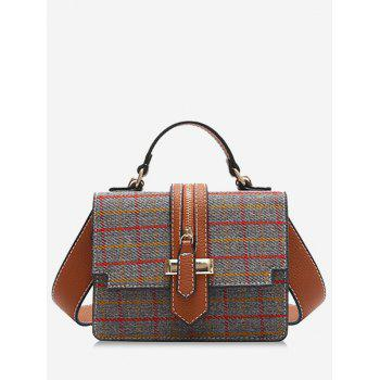 Tweed Checkered Crossbody Bag - GRAY GRAY
