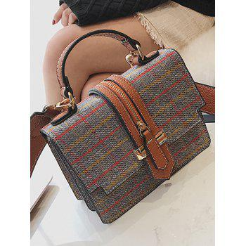 Tweed Checkered Crossbody Bag -  GRAY