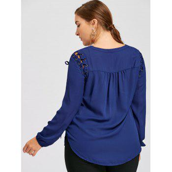 Lace Up Slit Plus Size Blouse - DEEP BLUE 4XL