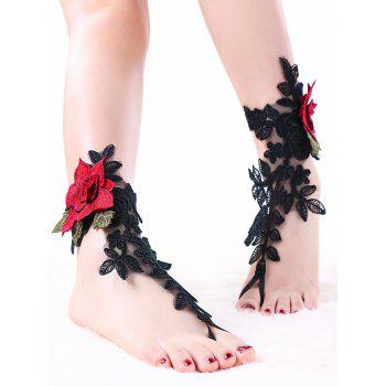 Flower Embroidery Lace Ankle Bracelet - BLACK S