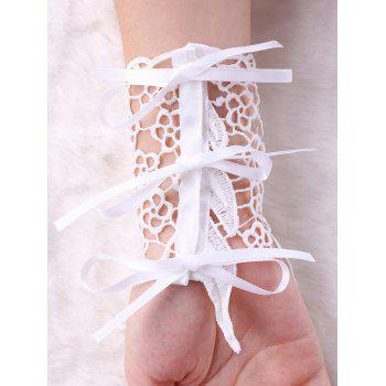 Hollow Out Feather Lace Fingerless Gloves - WHITE S