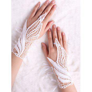 Hollow Out Feather Lace Fingerless Gloves - WHITE L