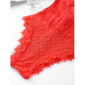 Eyelash Lace Cross Back Slip Teddy - RED RED