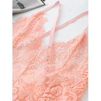Eyelash Lace Cross Back Slip Teddy - LIGHT PINK S