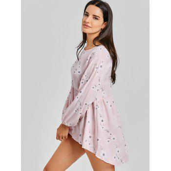 High Low Floral Mini Dress - PINK S
