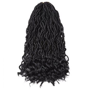 Medium Crochet Dreadlocks Braided Wavy Synthetic Hair Extension - BLACK BLACK