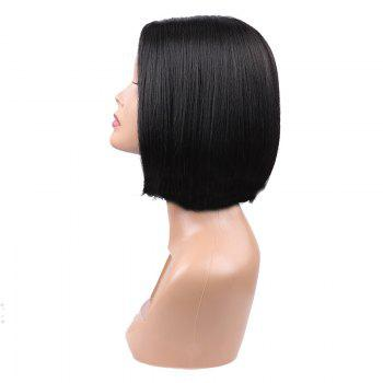 Short Center Parting Lace Front Straight Bob Synthetic Wig - BLACK