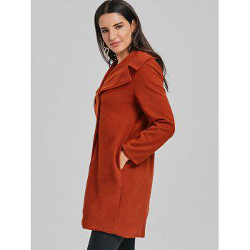 Lapel Double Breasted Wool Coat - BRICK RED M
