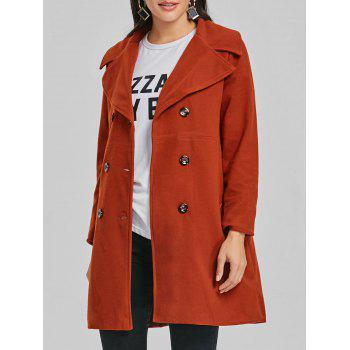 Lapel Double Breasted Wool Coat - BRICK-RED BRICK RED