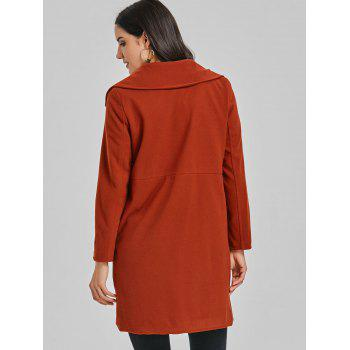 Lapel Double Breasted Wool Coat - BRICK RED S