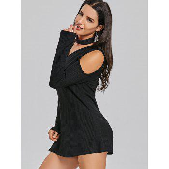 Mini Cold Shoulder Sweater Dress - BLACK BLACK