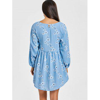 High Low Floral Mini Dress - WINDSOR BLUE L